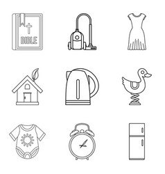 Mistress icons set outline style vector