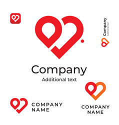 Modern red heart line logo love identity brand vector