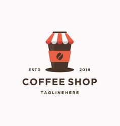modern vintage coffee shop logo coffee cup icon vector image