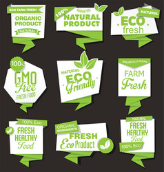 natural organic products collection labels vector image