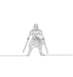 one single line drawing young japanese samurai vector image