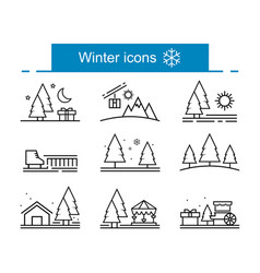 Outline winter icons collection vector