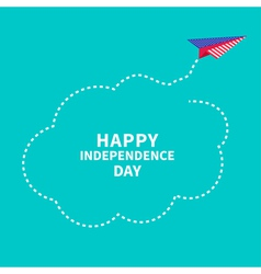 Paper plane dash line cloud independence day vector