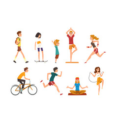 people doing physical activity outdoors men vector image