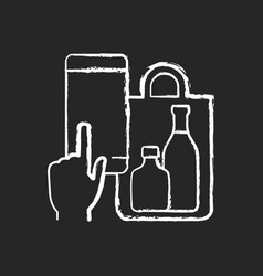 Phone drinks ordering chalk white icon on black vector