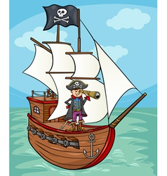 Pirate on ship cartoon vector