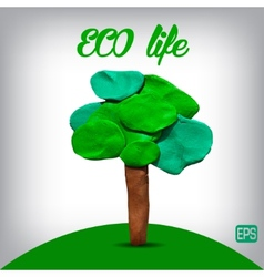 Plasticine tree on a background vector