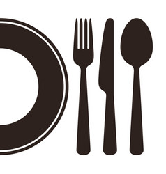 Plate knife fork and spoon vector
