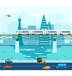Road Cars Wagons on Bridge over River Transport vector image