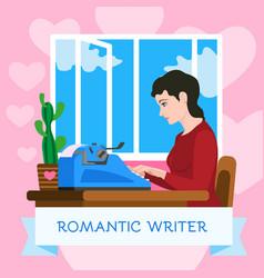 Romantic writer typewriter concept background vector