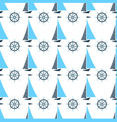 Sail oat and ship steering wheel seamless pattern vector