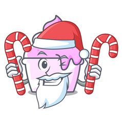 Santa with candy ice cream paper cup mascot vector