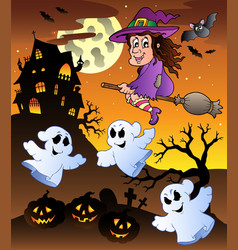 scene with halloween mansion 5 vector image