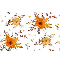 seamless floral pattern orange yellow gerbera vector image