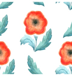Seamless pattern red vintage flower watercolor vector