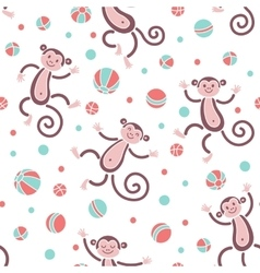 Seamless pattern with monkeys playing in balls vector image