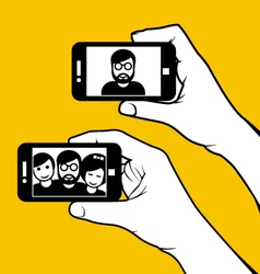Selfie with friends - hand with smartphone vector image
