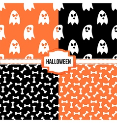 Set collection of halloween seamless patterns vector image