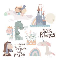 set cute little princesses dragons and magic vector image