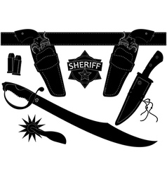 set of sheriffs weapons and accessories vector image vector image