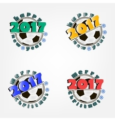 Set of soccer balls and New Year vector