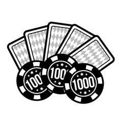 Set poker chips and poker cards for casino games vector