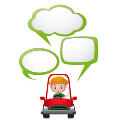 speech bubble template with boy in red car vector image