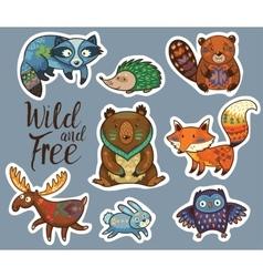 sticker set forest animals in cartoon style vector image
