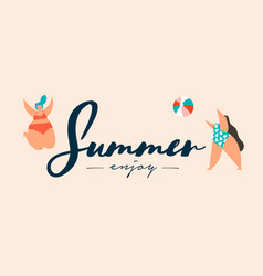 summer vacation banner curvy women at beach vector image