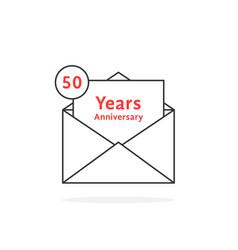 thin line 50 years anniversary logo like open vector image