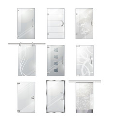 Transparent glass clear door collection on white vector