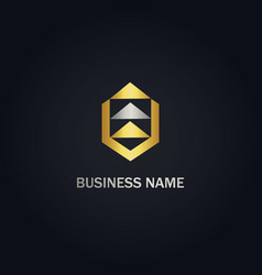 triangle arrow up layer gold logo vector image