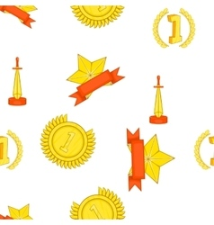 Trophy and awards pattern cartoon style vector