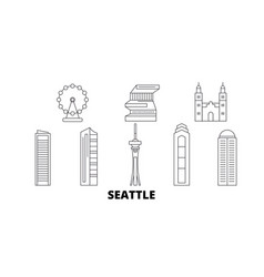 united states seattle line travel skyline set vector image