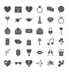 Valentine day solid web icons vector