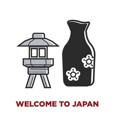 Welcome to japan promotional poster with small vector