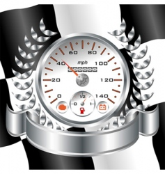 white speedometer racing shield vector image
