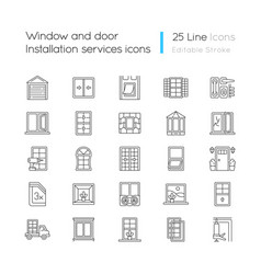 Window and door installation service linear icons vector