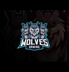 wolves mascot sport logo design vector image