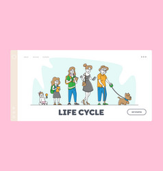 Woman age female character lifecycle landing page vector