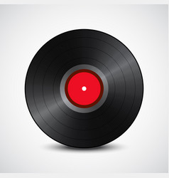 black vinyl record red in the middle isolated on vector image vector image
