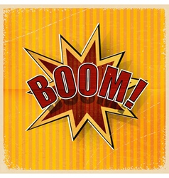 Cartoon Boom on an old-fashioned yellow background vector image vector image