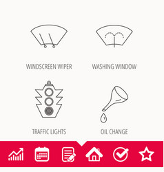 Motor oil change traffic lights and wiper vector