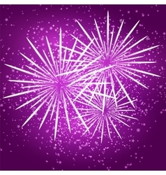 Starry fireworks on purple background vector image