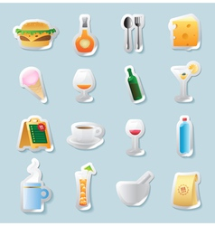 Sticker icons for food and drinks vector image