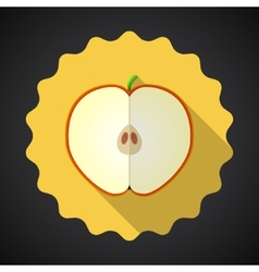 Apple Fruit Flat Icon with long shadow vector image