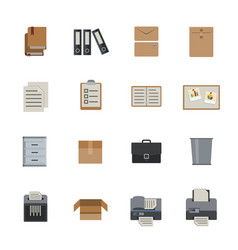 business and office icon flat icons set for vector image vector image