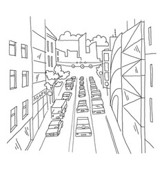 city street traffic jam linear perspective sketch vector image