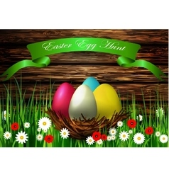 Easter egg nest with wood texture vector