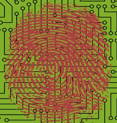 Fingerprint pressed onto a Digital Circuit Board vector image vector image